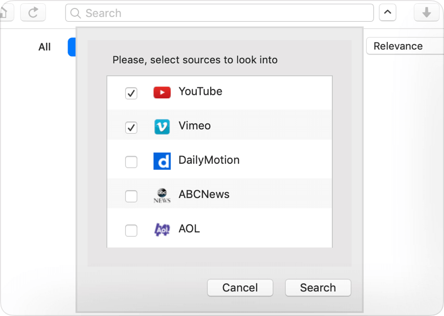Mac - Search Through Multiple Video Sharing Websites