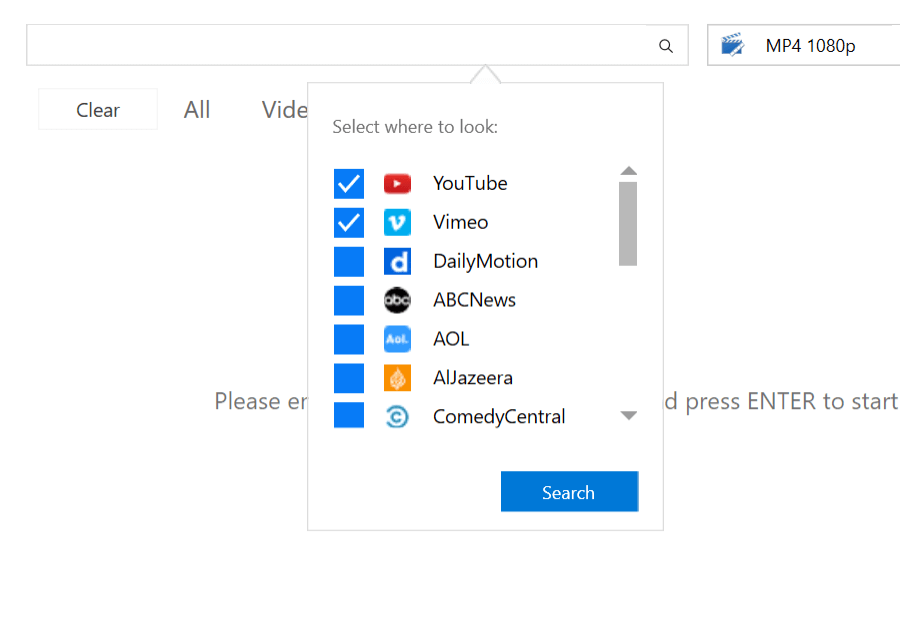 Windows - Search Through Multiple Video Sharing Websites