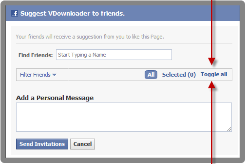 How to invite all Facebook friends at once
